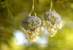 reserved for c - in a mermaids dream - vintage inspired pearl earrings - JenniferMorrisBeads