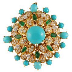 Van Cleef & Arpels Turquoise Emerald Diamond Gold Brooch | From a unique collection of vintage brooches at https://www.1stdibs.com/jewelry/brooches/brooches/