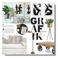 """""""GRAFIK"""" by fyenksfiona ❤ liked on Polyvore featuring interior, interiors, interior design, home, home decor, interior decorating, H&M, EMAC & LAWTON, Kelly Wearstler and Dot & Bo"""
