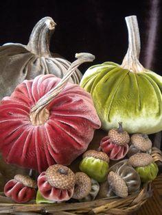 Velvet PUMPKINS & Velvet ACORNS - Real Pumpkin Stems and Real Acorn Caps - Autumn