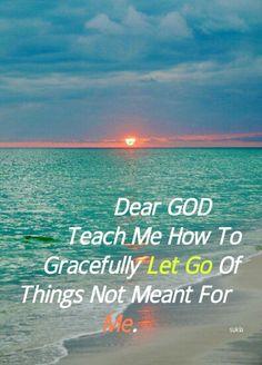 Dear GOD, please teach How to gracefully Let Go of Things not meant for me..Amén