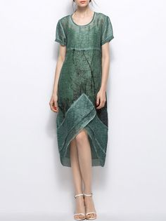 Green Abstract Crew Neck Simple Asymmetric Midi Dress - StyleWe.com