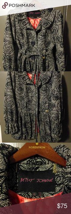 Betsey Johnson Winter Coat Twill Betsey Johnson winter coat with rose print. Size 10. Betsey Johnson Jackets & Coats