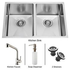 Vigo Undermount Stainless Steel 29 in. L x 20 in. D x 9-7/8 in. H 0-Hole Double Bowl Kitchen Sink