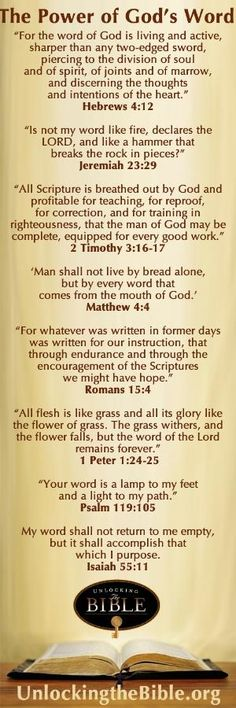 Power of God's Word! Great verses to memorize. www.unlockingtheb... by VenusV