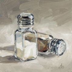 CONTEMPORARY STILL LIFE DAILY PAINTING BY TOM BROWN. who knew ordinary salt and pepper shakers would make such a wonderful painting!! www.richard-neuman-artist.com
