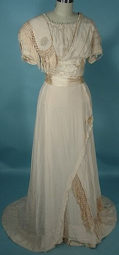 Circa 1909 Ivory Silk Crepe Edwardian Wedding Gown with Fringe and Pearl Ornaments.