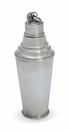 A Danish silver cocktail shaker designed by Harald Nielsen, Mark of Georg Jensen, Copenhagen, 1945-1977