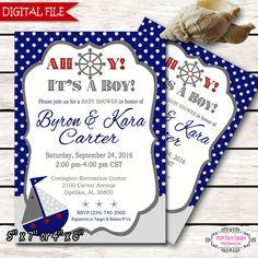 Ahoy it's a Boy Invitation Navy Blue Gray Boy by #M2MPartyDesigns https://www.etsy.com/shop/M2MPartyDesigns