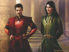 I don't know why the artist picked these two dudes specifically but i'm more interested in the fact that loki is dressed like a fucking elf