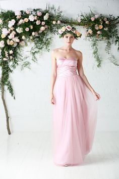 Bridesmaid separates - Satin ruched top with full soft tulle skirt