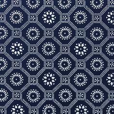 "LuRu Home ""Honeycomb"" in Indigo 1 Pattern Art, Pattern Design, Batik Pattern, Fabric Patterns, Print Patterns, Indigo Prints, Patterned Chair, Lattice Design, Honeycomb"