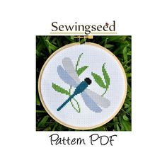 INSTANT DOWNLOAD Simple Dragonfly Cross Stitch Pattern