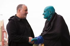 Mr Tunick, left, pictured with the oldest participant Stephane Janssen, 80, has previously created large-scale installations in Gateshead and Salford