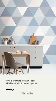 If you love geometric design, invite this modern Pastel Geometric Triangle Pattern Wallpaper Mural onto your feature wall. Accent Wall Designs, Bedroom Wall Designs, Kitchen Wallpaper Murals, Interior Walls, Interior Design, Geometric Wall Paint, Wall Painting Decor, Feature Wallpaper, Palette