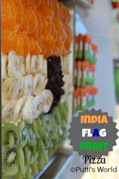 India Flag Fruit Pizza- fun snack for week eight India Culture, Culture Club, Cooking Recipes, Pizza Recipes, Cooking Ideas, Bollywood Theme Party, India For Kids, Diwali Food, Bible Crafts For Kids