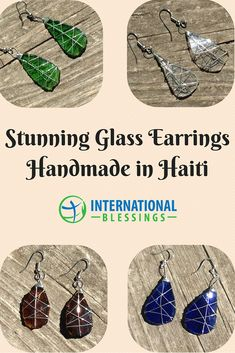 Glass Earrings - Handmade in Haiti to fight poverty through sustainable livelihoods!  ORDER YOURS TODAY!