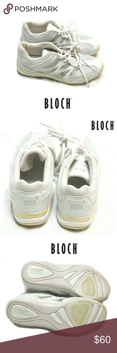 WOMENS BLOCH WHITE DANCE SNEAKERS BLOCH WOMENS WHITE DANCE SNEAKERS Pre-Loved/ SKI SC924 SZ 9 White Leather with Silver Trim & Breathable  Mesh Thruout  Great Arch Support Very Clean. See Pics of Soles for Minimal Use. Pls See All Pics. Ask ? If Not Sure Bloch Shoes Sneakers