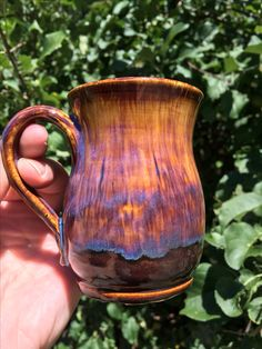 Amaco, 1 heavy coat of oatmeal over 3x iron luster fired to cone 5 1/2
