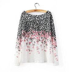 Funshop Woman's Full Leopard and Floral Pattern Round Neck Sweater 080808 Size L