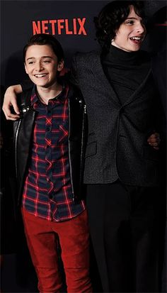 """Noah Schnapp and Finn Wolfhard at the Stranger Things 2 premiere. """