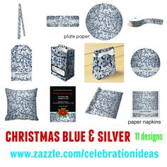 #christmas #partysets #elegant #modern #swirls #blue #silver in different products. Check more at www.zazzle.com/celebrationideas/christmas+blue+silver