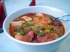 Summer♥ Chicken & Andouille Sausage Gumbo: 4 links andouille sausage ...