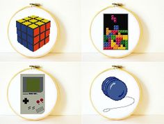 Counted Cross stitch Pattern Collection PDF. Retro toys patterns. Instant download. Includes easy beginner instructions.