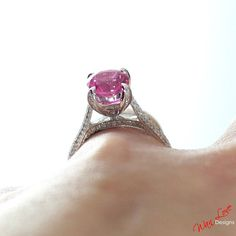 Pink Sapphire & Diamond pave Engagement Ring 3.5 by WanLoveDesigns