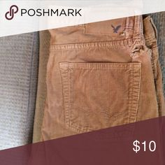American Eagle Size 32 x 34 Original Straight Great condition except for the hole! But you could cover it up with a sweater or shirt! American Eagle Outfitters Pants Corduroy