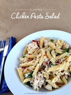 You won't even believe how delicious this Chicken Pasta Salad is! Feeds a large group and the best part is you can make it ahead of time, pull it out of the fridge and serve. Super. Simple.