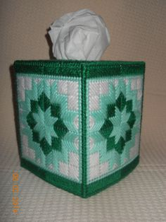 Shades of Green Tissue box cover in Plastic canvas by SpyderCrafts, $10.00