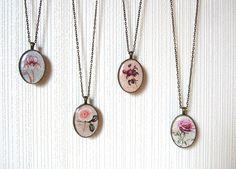 Resin Pendant Blue Iris Pendant Vintage Roses Pendant Antique