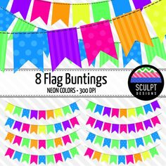 8 flag buntings in bright neon colors!