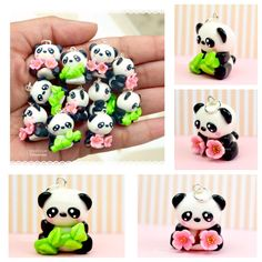 Mini Panda Cherry Blossom Bamboo Charm Pendant Necklace Polymer Clay Jewelry Handmade by Sweet Clay Creations