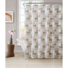 Bath Bliss PEVA Tile Design Shower Curtain Set