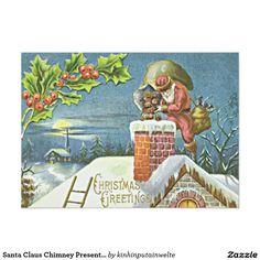 Santa Claus Chimney Presents Church Holly 5x7 Paper Invitation Card