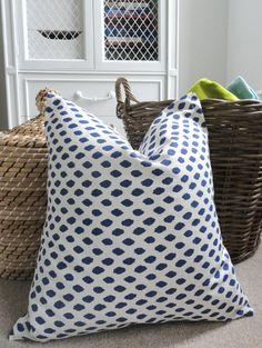 Navy Ikat Dot Pillow Cover  Designer Decorative Pillow by pickfair, $38.00