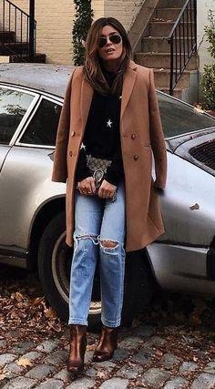#winter #fashion / Camel Coat + Black Turtleneck