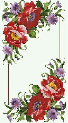 Ukrainian Cross Stitch Embroidery Flower Patterns for Tablecloth Pillow 57 Varia Cross Stitch Rose, Cross Stitch Flowers, Cross Stitch Charts, Cross Stitch Patterns, Embroidery Patterns Free, Beaded Embroidery, Cross Stitch Embroidery, Hand Embroidery, Flower Wallpaper