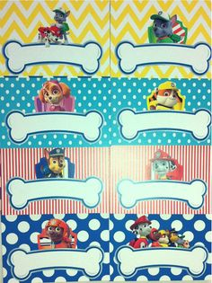 PAW PATROL Food Tents or Lables for Birthday Party  Set of 8
