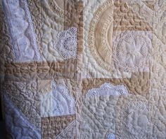 My quilt using doilies and lace, etc. from Garage Sales, and family donations.