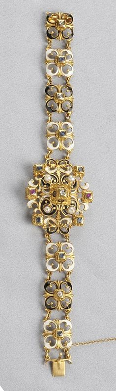 Renaissance Revival 18kt Gold, Enamel, and Gem-set Bracelet, set with rose-cut diamonds and circular-cut sapphires and rubies, pearl accents, and completed by quatrefoil links, 24.2 dwt, lg. 7 1/8 in.