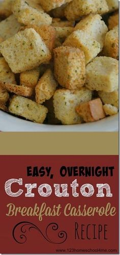 Easy overnight, make ahead Crouton Breakfast Casserole Recipe - This is such a yummy, easy to make recipe. This is perfect breakfast recipe for company or Christmas morning. GREAT RECIPE!
