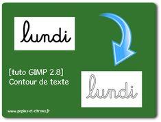 [tuto GIMP 2.8] Faire un contour de texte  GIMP - pépins et citrons Tuto Gimp, Tutorial, Contour, Scrapbooking, Photoshop, Letters, Culture, Photography Tricks, Classroom
