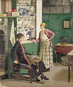 'In the Kitchen' - Harold Harvey -(1918)