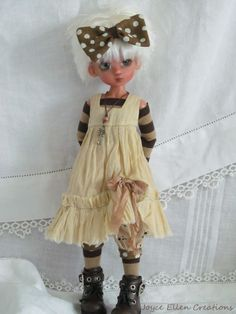 "Millie Tillie Kaye Wiggs 11"" BJD tan & brown slip dress set OOAK set by JEC #Unbranded #ClothingAccessories"