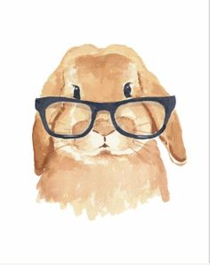 Adorable watercolor hipster bunny