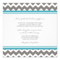 Wedding Invitations Blue Grey Chevron
