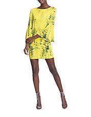 Floral Flounce-Sleeved Dress